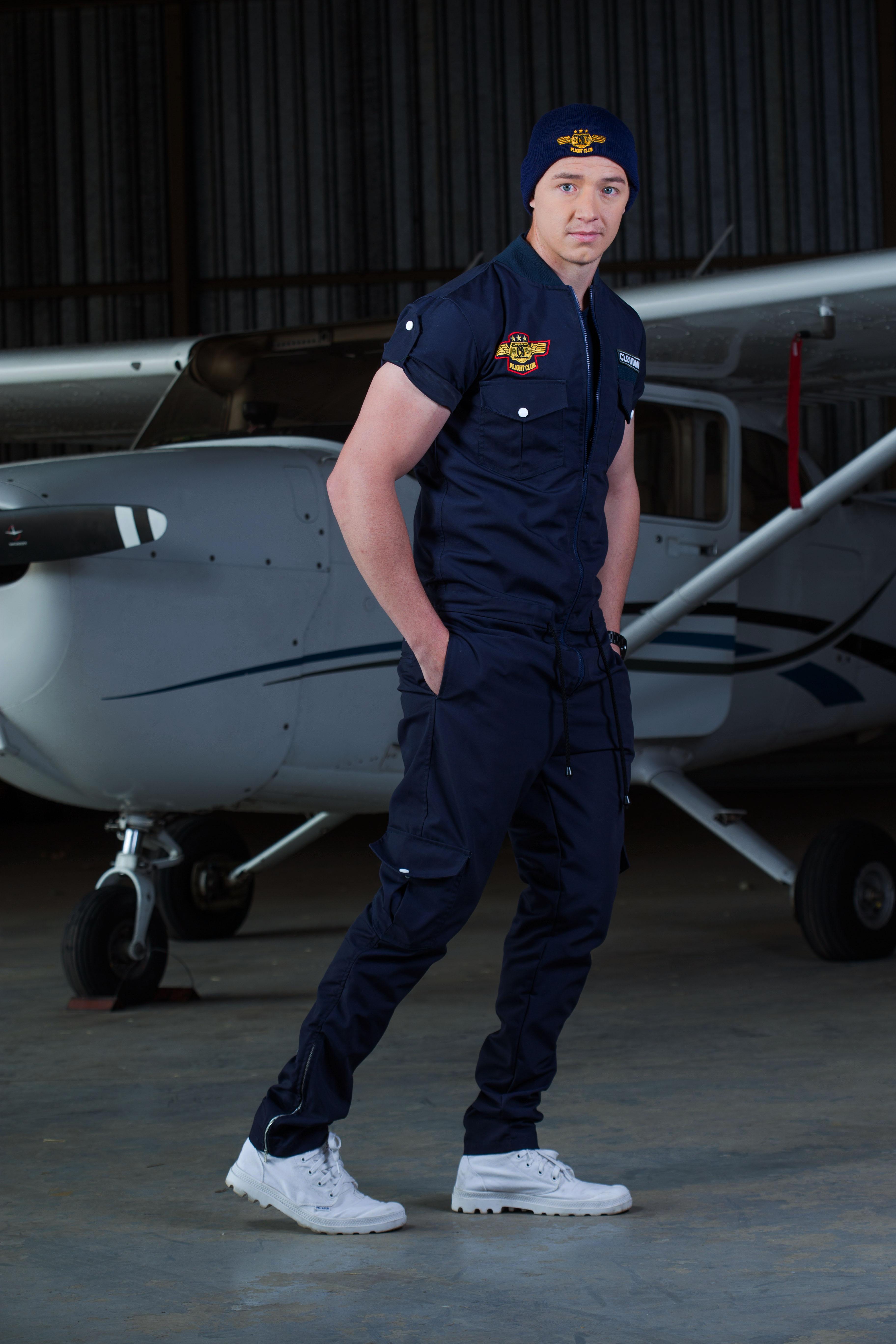 0b83f153e0f WARREN wearing the Navy Short Sleeve Mens  FLIGHT SUIT